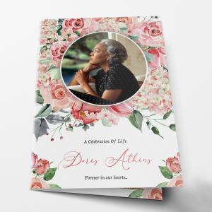pink rose folding DIY funeral program template