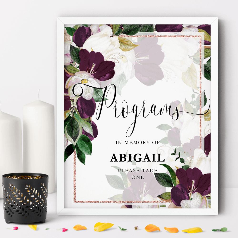 Framed floral white and marsala funeral program sign